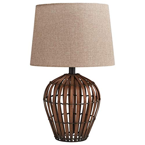 Basket Floor Lamp - Stone & Beam Modern Rattan Table Lamp With Light Bulb - 13 x 13 x 20 Inches, Brown with Linen Burlap Shade