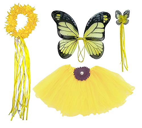 Girls Yellow Butterfly Monarch Dress Up Costume Age 3-7  ()