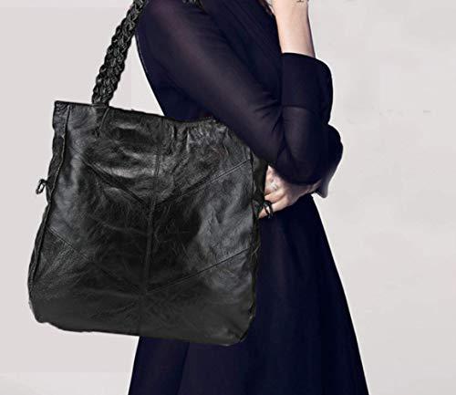 Wybxa Grande Bandoulière Portable Rétro Simple Black Handbag Épaule Mesdames Cuir Capacité Tressé En fHrpwfzq