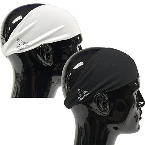 Value 2-Pack, Mens Headband - Guys Sweatband & Sports Headbands Moisture Wicking Workout Sweatbands for Running, CrossTrain, Skiing and bike helmet friendly - Value Pack - 1-Black & 1-White Sweatbands
