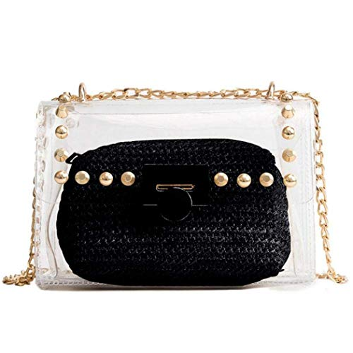 Pvc Fashion Bag - Clear Purse, 2 in 1 Transparent Shoulder Bag Set Fashion Rivet Chain Strap PVC Handbags for Women Crossbody Bag (Black)