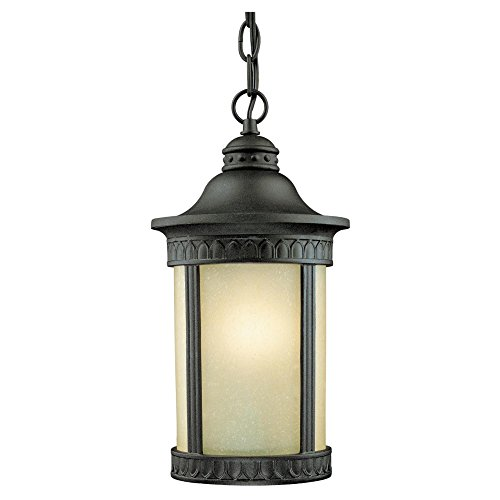 - Westinghouse Lighting 6754500 One-Light Exterior Pendant Lantern, Textured Black Finish on Cast Aluminum with Amber Seeded Glass
