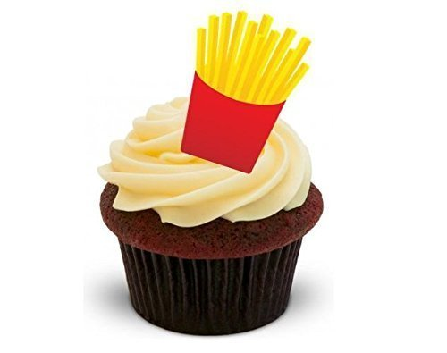 FRENCH FRIES - Standups 12 Edible Standup Premium Wafer Cake Toppers
