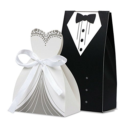 100pcs Tuxedo & Dress Groom Bridal Wedding Party Favor Gift Ribbon Candy Boxes Romantic