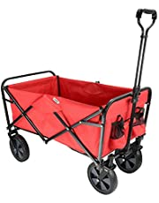 LIVINGbasics Collapsible Folding Wagon Beach Outdoor Wagon Utility Garden Shopping Cart, Red
