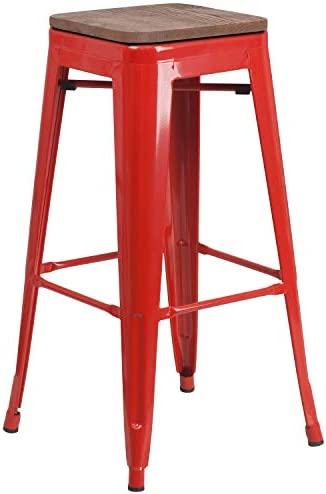 Taylor Logan 30 Inch High Backless Metal Barstool with Square Wood Seat, Red