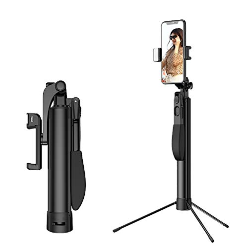Sodoop Wireless Blue- Tooth Selfie Stick Retractable Tripod Handheld Anti-Shake Stabilizer Fill Light Live Artifact Controller for Smart Phone