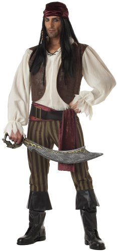 California Costumes Men's Rogue Pirate Costume, Brown, Size Medium (Themes For Dressing Up In Groups)