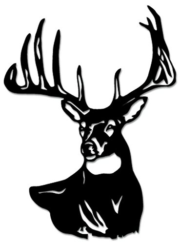 Deer Stickers For Trucks - Deer Buck Antlers Hunting Vinyl Decal Sticker For Vehicle Car Truck Window Bumper Wall Decor - [10 inch/25 cm Tall] - Matte BLACK Color