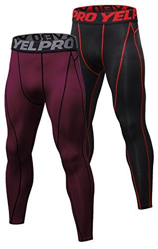 SILKWORLD Men's 2 pack Compression Pants Baselayer Cool Dry Sports Tights Leggings,Navy blue,Black+Red,US M