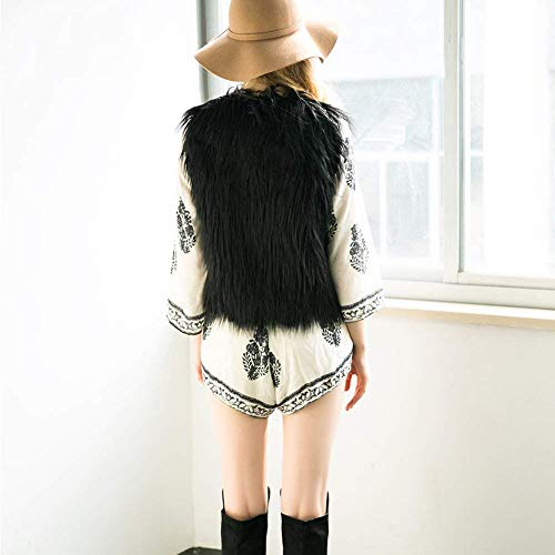 Señora Invierno Schwarz Joven De Otoño Mangas De Chalecos Piel Polares Moda Sin Chaleco Mujer Chaleco Ropa Chalecos Básicos Piel Color Sólido fwypYIxqRW