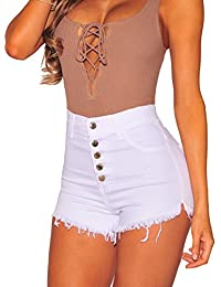 Womens High Waist Microstretch Cotton Denim Shorts