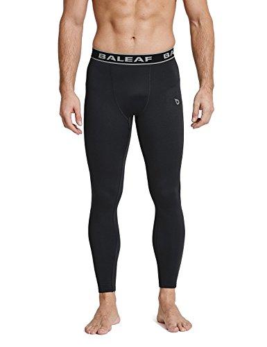 (Baleaf Men's Thermal Compression Baselayer Pants Leggings Black/Black Size)