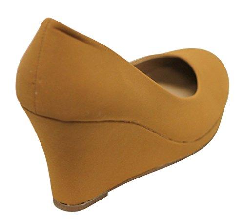 Gemini Soft-06 Confort Des Femmes Arrondi Toe Slip Sur Bateau Paillettes Plate-forme Wedge Talons Tan / Lamy