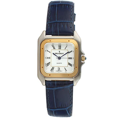 Peugeot Women Two-Tone Tank Shape Dress Watch with Designer Leather Wrist Band, Navy Blue Designer Leather Wrist Watch