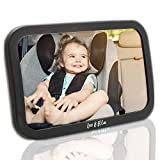 Leo&Ella Baby Car Mirror | CRASH TESTED | Large Shatterproof Mirror With Adjustable Safety Mount | Premium Matte Finish | Crystal Clear View of Newborn in Rear Facing Car Seat | 100% Lifetime Warranty