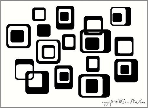 Wall Decor Plus More WDPM014 6-Inch and Smaller Funky Wall R/Squares Vinyl Sticker Decals, Black, 20-Piece ()