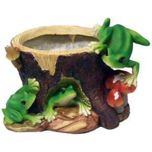 Frog Tree Stump Flower Pot