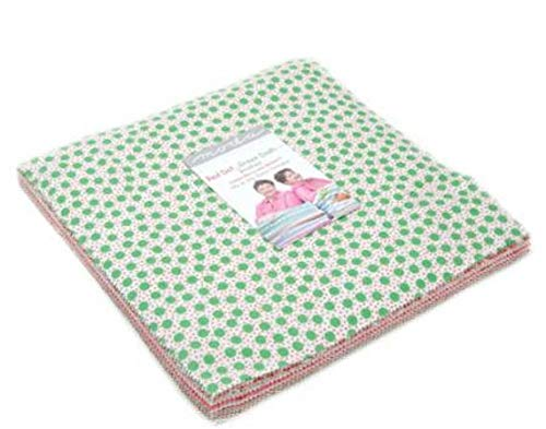 Me and My Sister Designs Red Dot Green Dash Brushed Layer Cake 42 10-inch Squares Moda 22300LCB