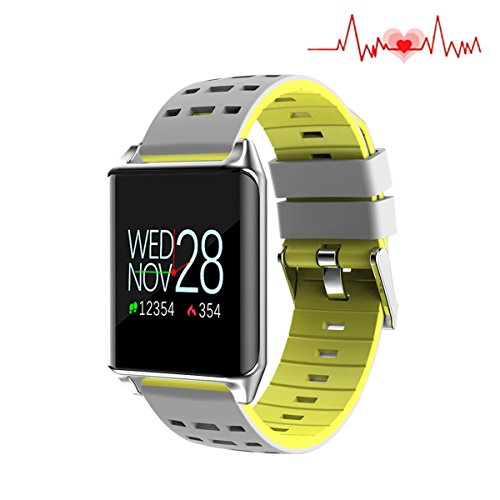 Fitness Tracker Watch, Smart Watch Color Screen, Waterproof Touth Screen, Sleep & Blood Pressure Oxygen Monitor Calorie/Step Counter, Bluetooth Wristband for Women Men Kids. (Silicone Yellow) by Huangchao Inc