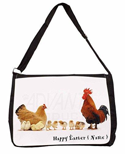 Personalised Hen, Cockerel+Chicks Large 16 Black School Laptop Shoulder Bag