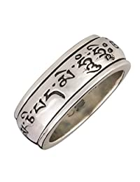 Energy Stone Om Mani Padme Hum Mantra Spinning Wheel Prayer Meditation Spinning Ring in Sterling Silver (Style# SR24)