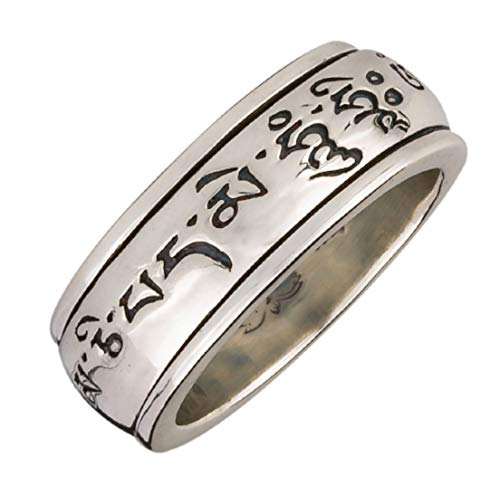 Energy Stone Mantra Wheel Prayer Meditation Ring in Sterling Silver (Style# US24) (11.5)