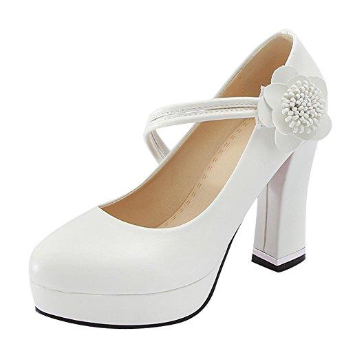Mee Shoes Damen High Heels Blumen Klettverschluss Pumps Weiß