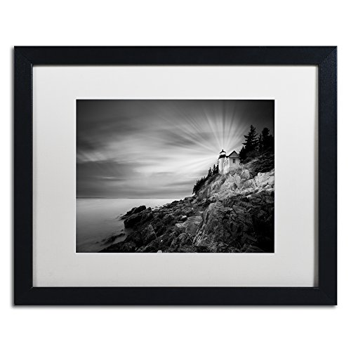 Trademark Fine Art Bass Harbor Lighthouse by Moises Levy in White Matte and Black Framed Artwork, 16 by 20