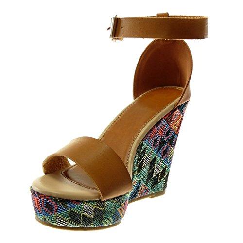 Fantaisie Mule Femme Angkorly Chaussure Plateforme Talon 11 brodé Mode Cheville Lanière compensé Sandale Camel Lanière Plateforme CM zxHwCqxU