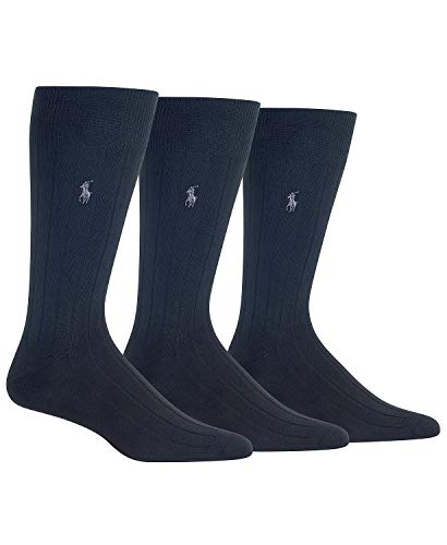 Polo Ralph Lauren Dress Socks Ribbed SuperSoft - 3 Pack (Black Ribbed SuperSoft)