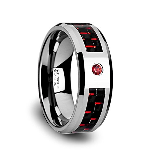 ADRIAN Tungsten Carbide Ring with Black and Red Carbon Fiber and Red Diamond Setting with Bevels - 8mm