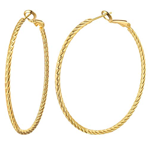 50mm Hoop - Hoop earrings for women 14K gold plated 50mm big hoops with sterling silver post best gift idea to girls (gold 50mm)
