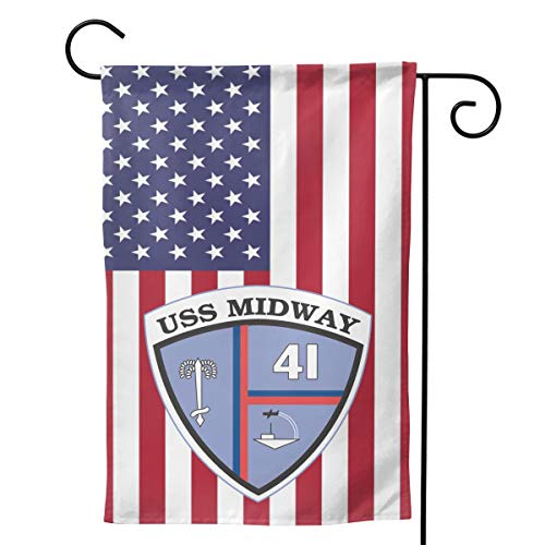Navy USS Midway CV-41 Welcome Yard Garden Flag Banners for Patio Lawn Outdoor Home Decor 12.5
