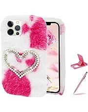 Herzzer Chic Winter Warm Plush Furry Cover for Samsung Galaxy S10E,Cute Color Block Rabbit Fluffy Hairy Diamond Pearl Love Heart Soft Silicone Rubber TPU Back Case,White Pink