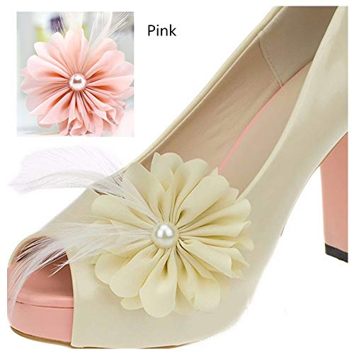 Douqu A Pair Black Pink Ivory Chiffon Flower Pearl Feather Wedding Bridal Shoe Clips (Pink)