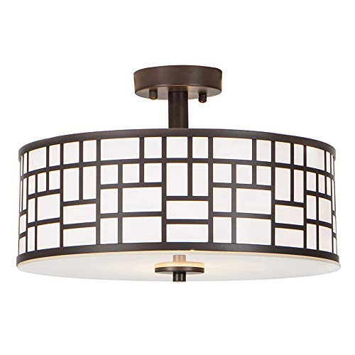 - GLANZHAUS Inner White Acrylic Diffuser Outer Oil-Rubbed Bronze Finish Flush Mount Ceiling Light, 13