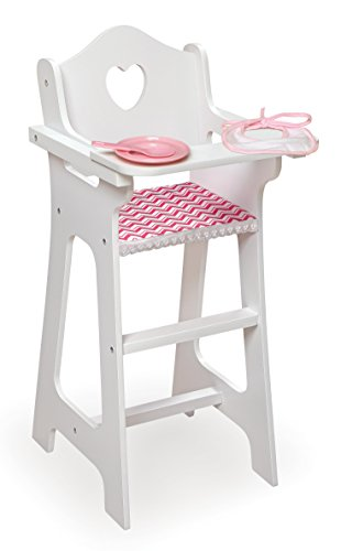 (Badger Basket Chevron Doll High Chair with Accessories and Free Personalization Kit (fits American Girl Dolls) )
