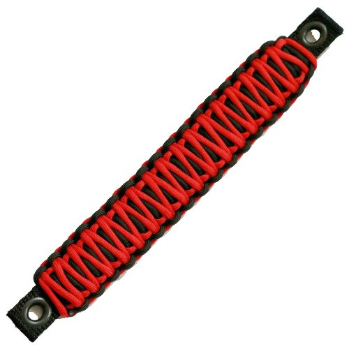 Jeep Wrangler JK Rear Side Sound Bar Paracord Grab Handles (PAIR) - Made in USA - BLACK/RED ()