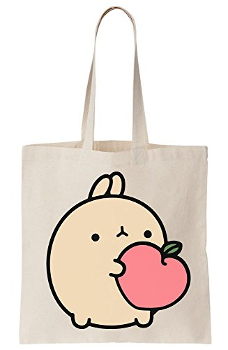 Bunny Holding Fruit Sunny Funny Artwork Canvas Tote Bag