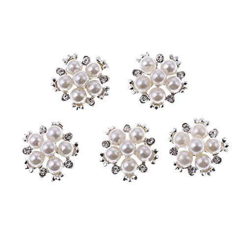 5 Pcs Flower Cluster Crystal Pearl Buttons Sewing Craft Wedding Buckle Jewelry (Model - #4 Six Round Pearl)