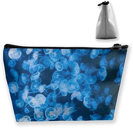 Deep Sea Jellyfish Blue Pencil Case Tasche Reißverschlusstasche Münztasche Schminktasche Tasche Aufbewahrungstaschen Stifthalter mit großer Kapazität für Kinder Schulkinder B.
