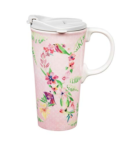 Floral Collection Pink Mug - Cypress Home Courage Floral Pink Ribbon Ceramic Travel Cup with Tritan Lid and Box