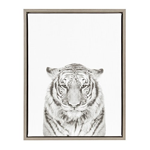 Kate and Laurel Sylvie Tiger Black and White Portrait Gray Framed Canvas Wall Art by Simon Te Tai