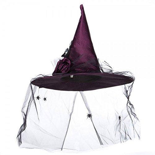 Satin Spider Witch Hat - Velvet Satin Witch Hat - Black Spider Veil OSFM