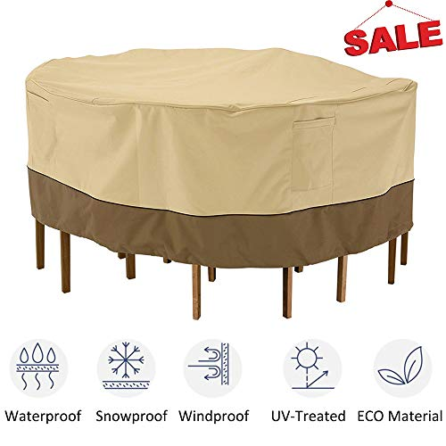 kdgarden Outdoor Round Patio Table and 6 Chairs Set Cover, Heavy Duty Waterproof 600D Large Furniture Set Cover for All Weather Protection, 80