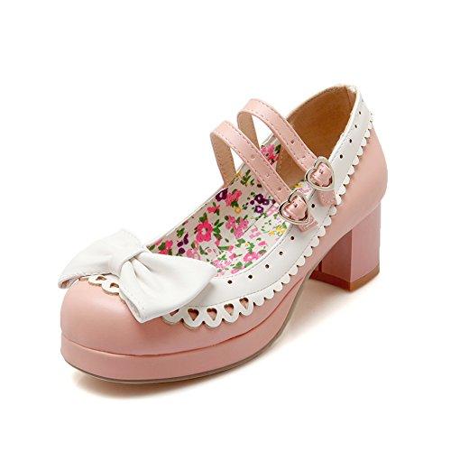 Lucksender Womens Lolita Style Chunky Heels Cute Bowknot Pumps Shoes Rosa