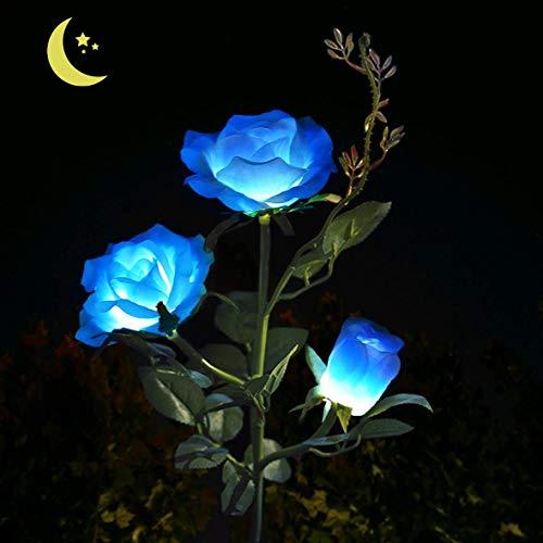 AB AttaBoy Solar Garden Rose Light, Solar Powered Garden Flower Lights,Waterproof LED Outdoor Solar Rose Stake Light for Garden,Courtyard,Backyard Decoration(Blue)
