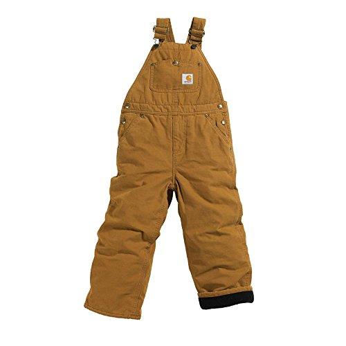 Carhartt Little Boys' Washed Duck Bib Overall Quilt Lined, Carhartt Brown, 6 - Carhartt Bibs Lined