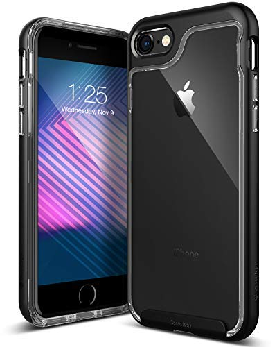 Caseology Skyfall for Apple iPhone 8 Case (2017) / for iPhone 7 Case (2016) - Clear Back & Slim Fit - Matte Black